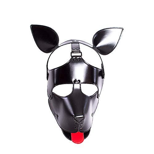 Bluelover Pu Leder Haube Kopfmaske Kopfbedeckungen Erwachsene Einstellbare Dog Bondage Slave Schwarz -