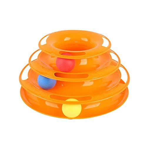 Alexen Fangspielzeug Lustiges Interaktives Katzenspielzeug Katzenspielzeug, Haustier Katzenspielzeug Mehrschichtige Tricolor-Kugel Katze, die Ballspielzeug -