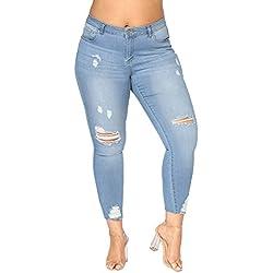 Sunenjoy Jeans Femme Déchiré Taille Haute, Pantalon Grande Taille Jeans Pas Cher Skinny Mode Pantalon Crayon Slim 42 44 46 48 50 52 (52, Bleu Clair)