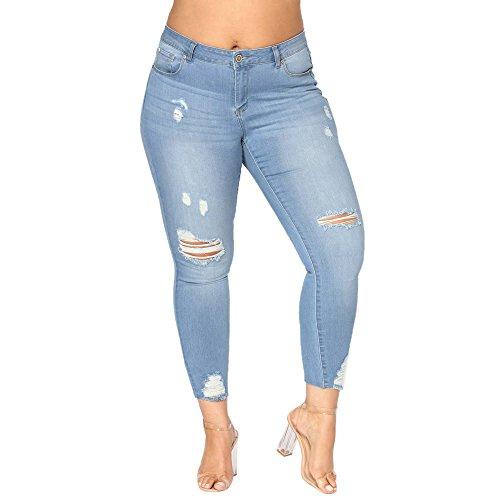 BHYDRY Damen Plus Size Ripped Stretch Slim Denim Skinny Jeans Hosen mit hoher ()