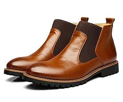 Stivali Chelsea Uomo Pelle Eleganti Flat Moda Bassi Stivaletti Vintage Business Scarpe Foderata Invernali Boots Nero Marrone Rosso 38-46 Marrone 38