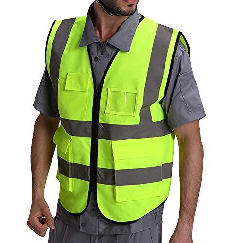 Puimentiua Chaleco de Seguridad Fluorescente Multibolsillos de Hombre Uniforme Trabajo Alta Visibilidad Amarillo Reflectante con Cremallera
