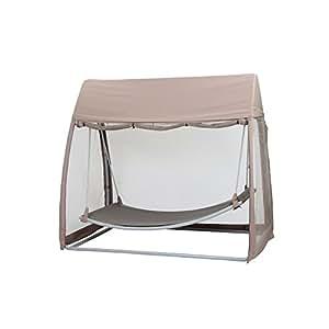 siena garden 209133 h ngematte stahl gestell silber ranotex gewebe 2 1 taupe inkl moskitonetz. Black Bedroom Furniture Sets. Home Design Ideas