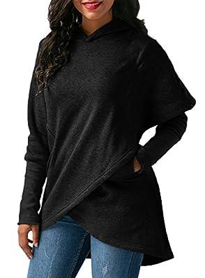 FIYOTE Womens Long Sleeve Hoodie Sweatshirt Wrap Asymmetric Hem Pullover Jumper Outwear Tops Blouse S-XXL