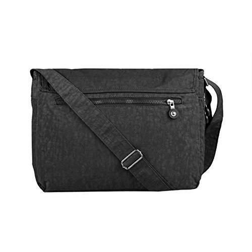 OBC Ital-design Unisex Erw. & Kinder Tasche Schultertasche Freizeit Shopper Umhängetasche (Schwarz) Schwarz 38x28x16 cm