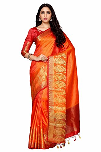 Mimosa By Kupinda Women\'s Art Silk Saree Kanjivaram Style (Latest Designer Sarees /Party wear sarees /New collection sarees Color : Rust (4032-242-RD-2D-GLD-MRN)