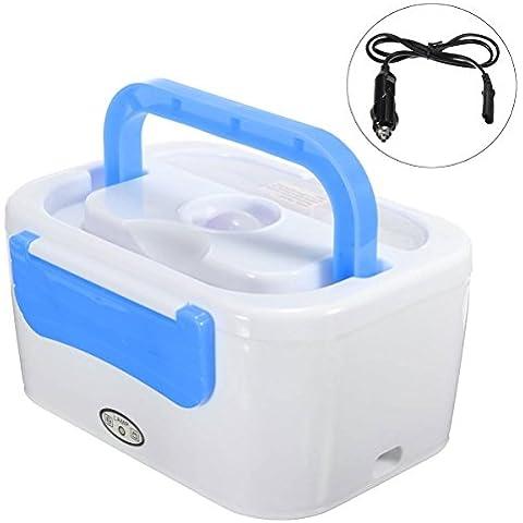 AUDEW 12V Scaldavivande Elettrico - Schiscetta Elettrica Scaldino Portatile Box Pranzo Blu - Auto Lunch Box