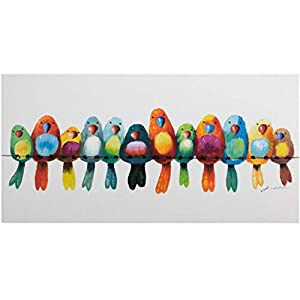 KunstLoft® Painting 'Friends for life' 47x24inches | Large, original hand-painted canvas | Birds at home Colourful parrots and budgerigars | Modern art acrylic mural on frame