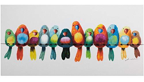 KunstLoft® Acryl Gemälde 'Freunde fürs Leben' 120x60cm | original handgemalte Leinwand Bilder XXL | Vögel Heimat Bunt Bunt | Wandbild Acrylbild Moderne Kunst einteilig mit Rahmen