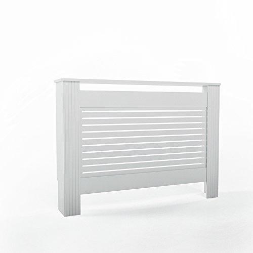 VICCO Heizkörperverkleidung Vintage Landhausstil 112cm / 152cm Weiß - Heizungsverkleidung Heizkörper-Abdeckung (112cm Horizontal) -