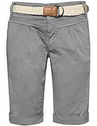 67ddd7c12085 Fresh Made Damen Bermuda-Shorts in Pastellfarben mit Flecht-Gürtel   Elegante  kurze Hose