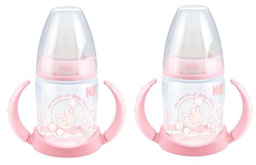 NUK 10215053 First Choice Trinklern-Flasche Baby aus PP, mit Soft-Trinktülle aus TPE ab 6 Monate, 150ml, rosa, 2er Pack (2 Flaschen)