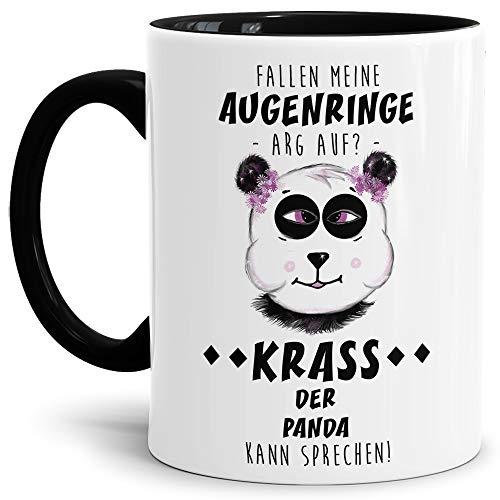 Tassendruck Panda-Tasse mit Spruch Fallen Meine Augenringe arg Auf? Krass der Panda kann sprechen! - Kaffeetasse/Mug / Cup/Süß / Innen & Henkel Schwarz