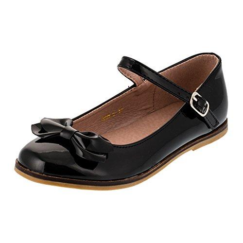 Festliche Kinder Mädchen Ballerinas Schuhe für Partys und Freizeit in vielen Farben M297sw Schwarz (Schuhe Schwarz Für Kinder)