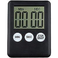 Temporizador digital de Cocina con cuenta atrás,Timer Digital Reminder Alarm LCD Reloj de cocina,Electrónico cronómetro y Magnético temporizador(Negro)