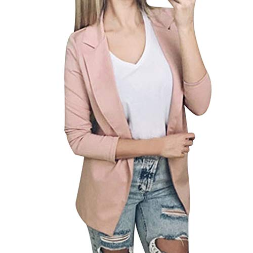 Strickjacke Kolylong Damen Elegant Einfarbig Offene Blazer Klassisch Vintage Business Büro Jäckchen Anzug Umlegekragen Jacke Kurz Outwear Cardigan Mantel Langarmshirt Tops (XL, Rosa) -