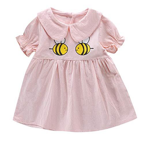 WUSIKY Baby Mädchen Kleid, Sommer Baby Kinder Mädchen Prinzessin Kurzen Ärmeln Kleid Cartoon Party Kleid Minikleid Elegante Lässige Mode Tutu Rock 2019 Neue Mädchen Kleidung(70/S,Rosa)