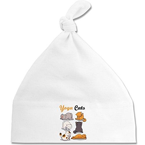 Tiermotive Baby - Yoga Cats - Unisize - Weiß - BZ15 - Baby Mütze mit einfachem Knoten als Geschenkidee (Katze Gewaschen Cap)