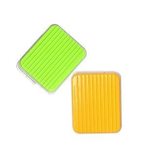 Shengchu 2pcs Mini Travel Contact Lens Case Box Luggage style Container Holder (Green+Orange)