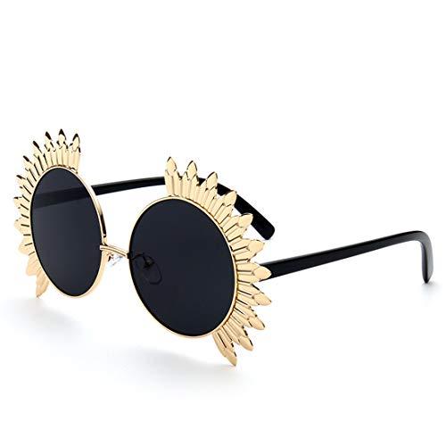 Easy Go Shopping Metall Sonnenblumen Damen Runde Form UV Schutz Sonnenbrille Farbige Linse Outdoor Sports Driving Reisen Sonnenbrillen und Flacher Spiegel (Farbe : Schwarz)
