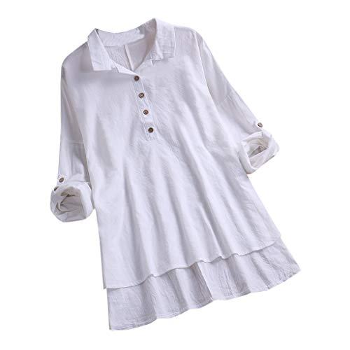 Damen Oberteile Cramberdy Sommer Elegant Damen Baumwolle Leinen T Shirt Einfarbige Oberteile Shirt Frauen Casual Bluse Lose Kurzarmshirt Hemd Tuniken Tops Teenager Mädchen Shirt Große Größen -