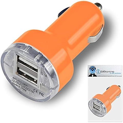iTALKonline PowerPlus ARANCIONE DUAL 2 USB caricabatteria da auto 12-24V DC 2000 mAh per Amazon Kindle PaperWhite (2012 Version)