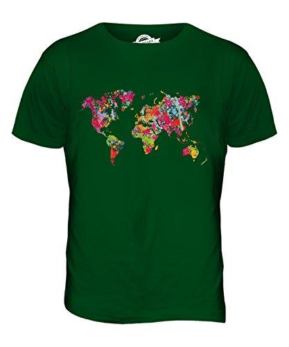 CandyMix Weltkarte Splatter Herren T Shirt Flaschengrün