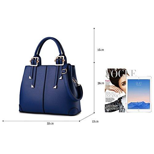 Tisdaini Portafoglio delle borse di affari del sacchetto del messaggero della spalla di modo della borsa dell'unità di elaborazione delle donne blu navy