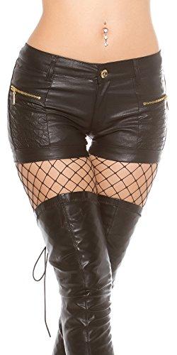 Rockige Kunstleder-Hotpants mit Zier-Zipper Schwarz