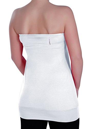 Eyecatch - Nicole Aux Femmes Sans Manches Mode Ruché Dames Sans Bretelles Top Blanc