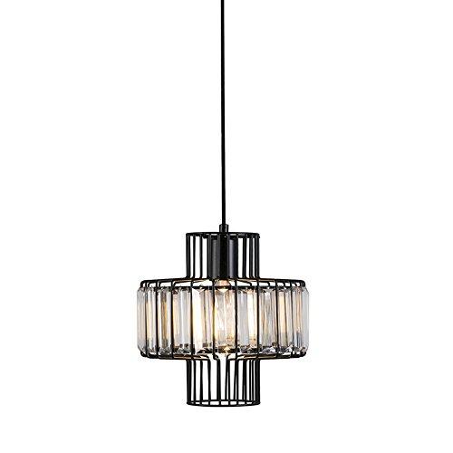 QAZQA Landhaus / Vintage / Rustikal Pendelleuchte / Pendellampe / Hängelampe / Lampe / Leuchte Fantasy 7 schwarz / Innenbeleuchtung / Wohnzimmer / Schlafzimmer / Küche Glas / Metall / Rund LED geeignet E27 Max. 1 x 60 Watt