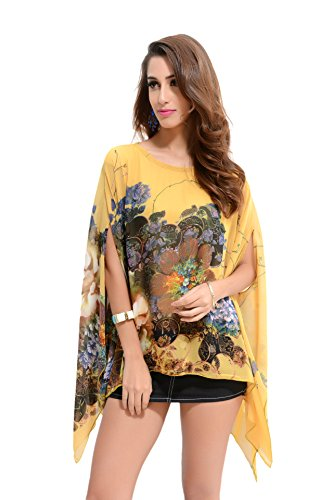 Honeystore Damen Tunika Strandkleid Minikleid Bluse Tops Strandtunika Chiffon Strickjacke für Bikini Cover Up One Size Gelb