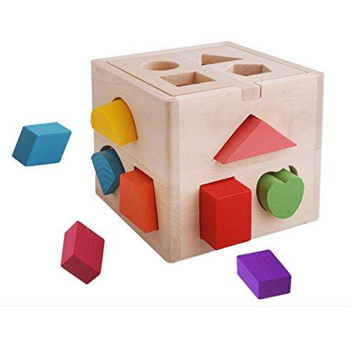 Newin Star Juegos de Bloques de Madera,Caja Actividades,de Educación Aprendizaje Temprano para Bebés Niños Bloques de Construcción Juego de Enseñanza de Formas Geométricas 13 Agujeros