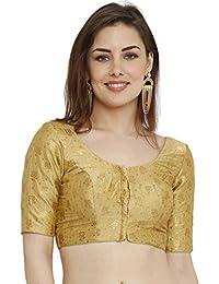 482929078fe48 S Salwar Studio Women s Gold Dupion Silk Readymade Padded Saree  Blouse(SSB2037 Gold Size   32-