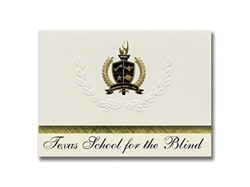 Signature Ankündigungen Texas Schule für Blinde (Austin, TX) Graduation Ankündigungen, Presidential Stil, Basic Paket 25Stück mit Gold & Schwarz Metallic Folie Dichtung