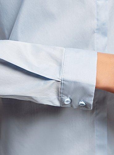 oodji Ultra Donna Camicia Basic Aderente Blu (7001N)