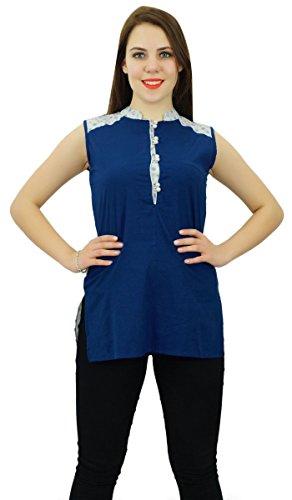 Phagun Manches Femmes Vêtements Décontractés Courtes En Coton Kurti Vêtements Bleu et blanc cassé