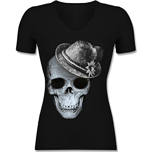 Oktoberfest Damen - Totenkopf mit Filzhut - Tailliertes T-Shirt mit V-Ausschnitt für Frauen Schwarz