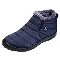 Hotsell〔ㄥ〕Warm Snow Boots Women Ankle Boots Fur Lining Boots Waterproof Thickening Winter Shoes Slip On Flat Shoes Outdoor Casual Walking Shoes Anti-Slip for Women and Men