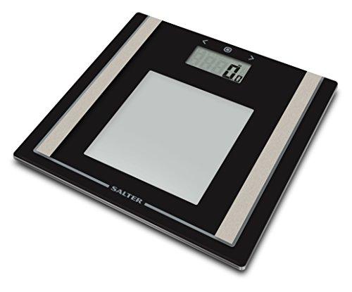 Salter Digital Body Analyzer Badezimmer Skala (Gewicht, Körperfettanteil, BMI, Ultra Slim, gehärtetes Glas, Step-on-Technologie, leicht lesbare LCD-Display) – Schwarz/Silber