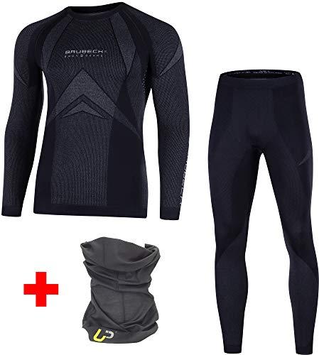 Brubeck® Dry Damen Herren Funktionsunterwäsche Set Lang + Ultrapower Schlauchtuch | LS10180 + LE10160, Größen:M