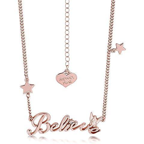 Disney Couture-Collana placcata oro rosa, ciondolo con scritta
