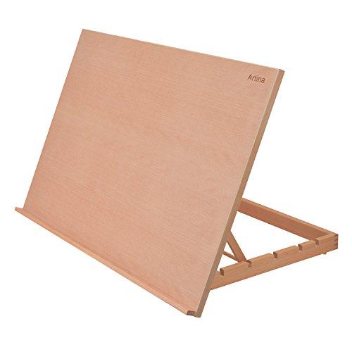 Artina Chevalet de table Montpellier - planche à dessin - Porte livre - En bois d'orme - 75x46cm