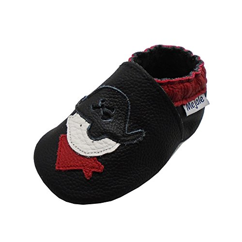 Mejale Weiche Sohle Leder Babyschuhe Lauflernschuhe Krabbelschuhe Kleinkind Kinderschuhe Hausschuhe Karikatur Pirat(18-24 Monate/5.9 Zoll, Schwarz) (Erwachsene Piraten-boot)