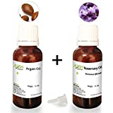 Allin Exporters Moroccan Argan Oil and Rosemary Essential Oil - 15ml Each - 100% Pure and Natural Essential Oil Combo Pack