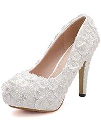 Zapatos De Novia Para Las Mujeres De La Novia Apliques De Encaje Rebordear 11.5 CM Tacones De Plataforma 4.5 CM...