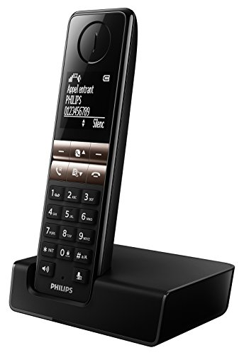 Philips D4601B -Teléfono inalámbrico elegante con manos libres, identificación de llamadas entrantes, configuración fácil, sonido puro y claro, negro