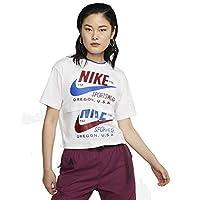 Nike Women's Icn Clsh Short Sleeve T-Shirt, White, Small