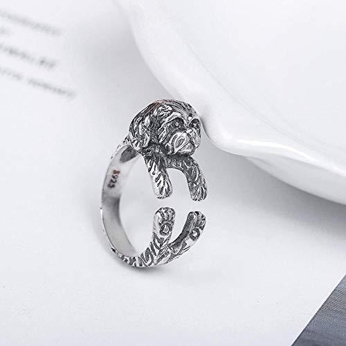 XAFXAL Silberringe925 DamenVintage Einstellbar,Cute Puppy'S Student Persönlichkeit Mode Frauen Ring Für Valentine's Tag Engagement Geburtstag Geschenk Frauen Ring