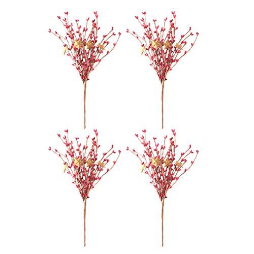 Healifty Craft Berry Floral mit Zweigen Holly Berry Flower für Hauptdekoration 4pcs (rot) Holly Berry